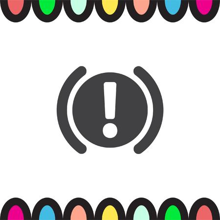 attention symbol: Car Parking Brake Signal vector icon. Attention symbol. Illustration