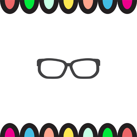 eye glass frame: Glasses vector icon. Reading accessory sign. Search symbol UI control.