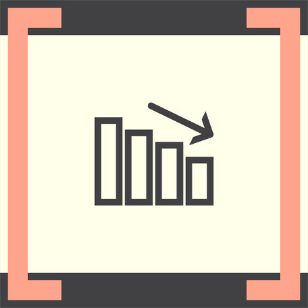 declining: Chart with bars declining line vector icon. Decrease sign. Finance graph symbol