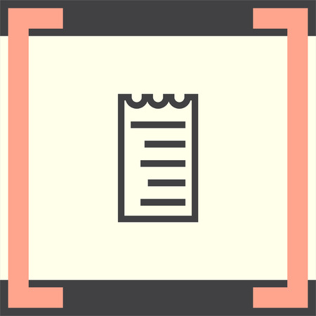 pay bill: Receipt line vector icon. Bill sign. Pay document pictograph. Business invoice symbol.