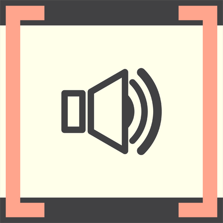 loud speakers: Speaker vector icon. Audio symbol. UI control sound sign. Music pictograph.