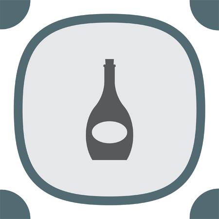 alcoholic beverage: Wine bottle vector icon. Alcoholic beverage symbol. Wineglass sign
