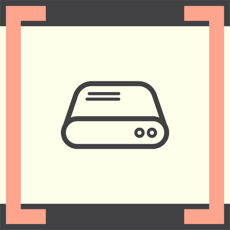 hard disk: Hard disk line vector icon. HDD sign. Hard drive storage symbol.