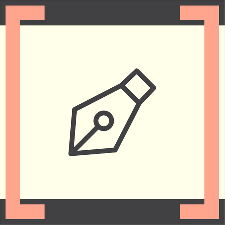 autograph: Ink pen line vector icon. Fountain pen pictograph. Edit symbol. Writing tool sign. Illustration