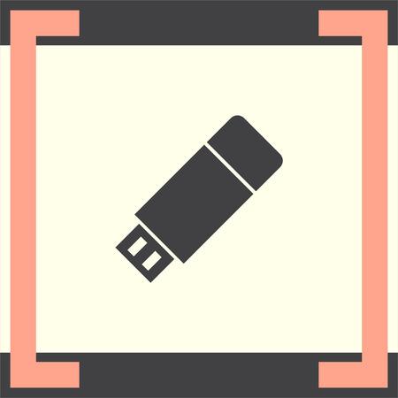 data memory: USB stick vector icon. Flash memory sign. Removable data drive symbol