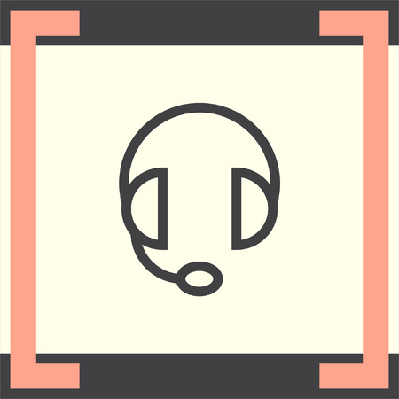 volume control: Headphones or headset line vector icon. Music sign. Volume control pictograph. Sound symbol.
