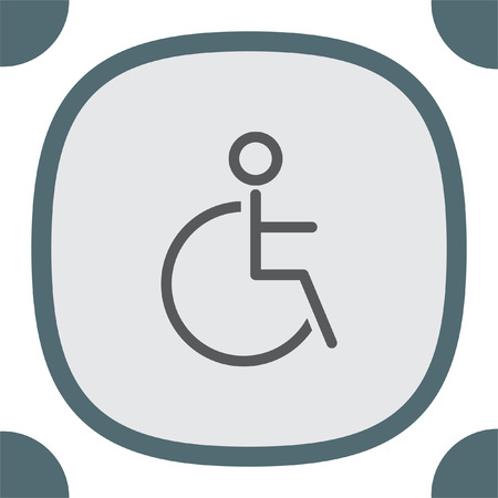 medicine wheel: Wheelchair sign line vector icon. Disabled person icon. Human on wheelchair sign. Patient transportation symbol. Illustration