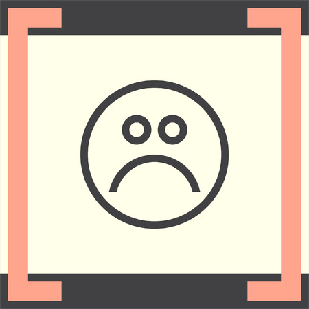 sadness: Sad face sign line vector icon. Emoticon sign. Sadness symbol