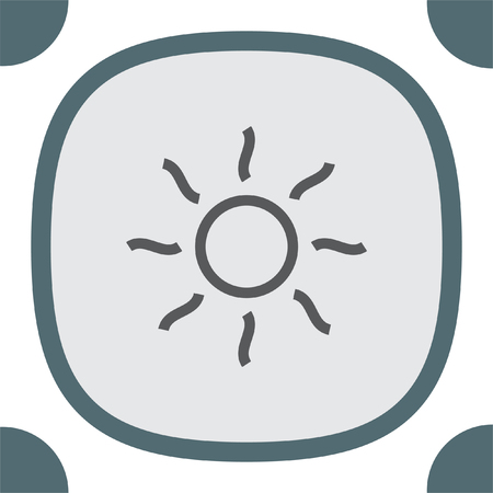 hot weather: Shine line icon. Sun vector. Sun rays sign. Summer symbol. Hot weather pictograph.
