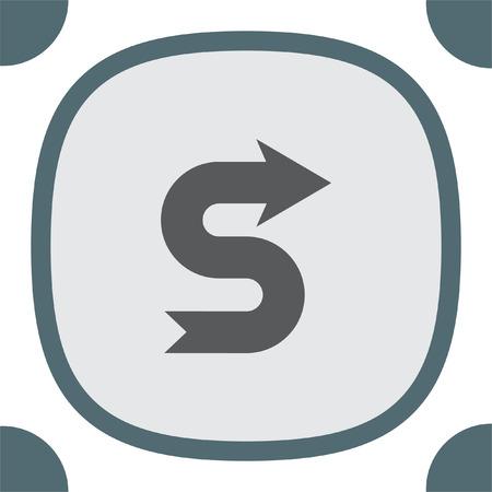 Arrow meandering vector icon. Direction sign line icon.