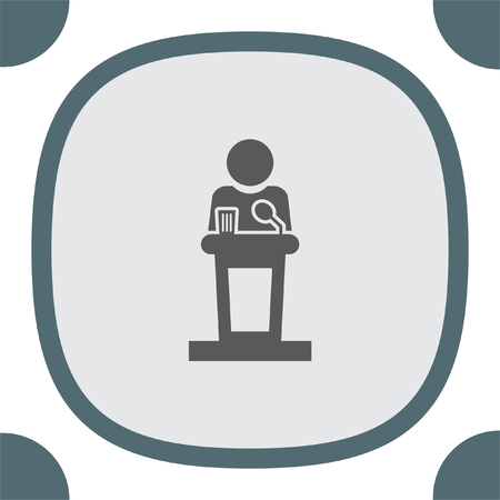 Podium hablar en público del icono del vector. Discurso del político de signo. Presidente símbolo conferencia