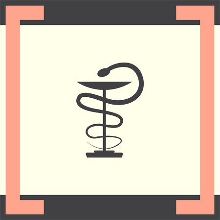 snake and a bowl: Pharmacy snake vector icon. Drugstore sign. Hospital symbol Illustration