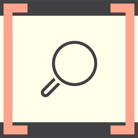 magnification icon: Magnifying glass vector line icon. Search sign. Zoom symbol. Find pictograph Illustration