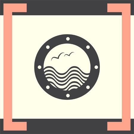 porthole window: Boat Window vector icon. Vacation symbol.