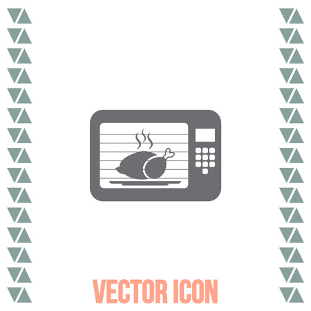 roasting: Microwave oven vector icon. Electric cooking device sign. Chicken roasting symbol