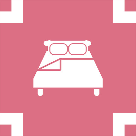 motel: Bed vector icon. Motel or hotel sign. Relax symbol.