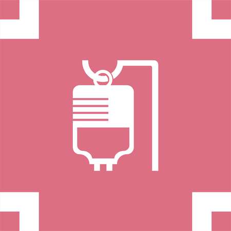 saline: IV bag medical vector icon. Infusion sign