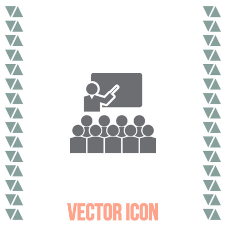 lecture room: Students in classroom vector icon. School and teacher sign. Seminar and conference symbol