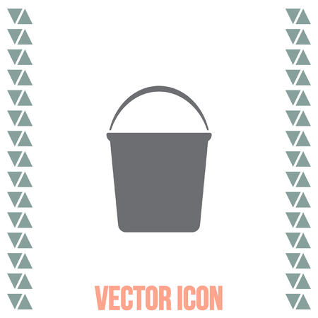 janitor: Water Bucket vector icon. Wash equipment sign. Household hygiene sign.