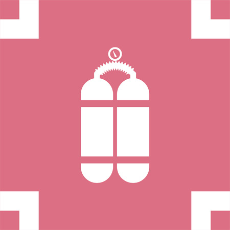 diving equipment: Oxygen cylinder vector icon. Diving equipment symbol