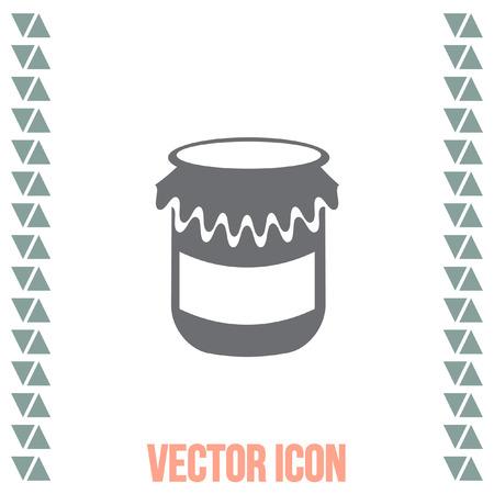 jam jar: Jam jar vector icon. Honey container sign. Homemade treat symbol.