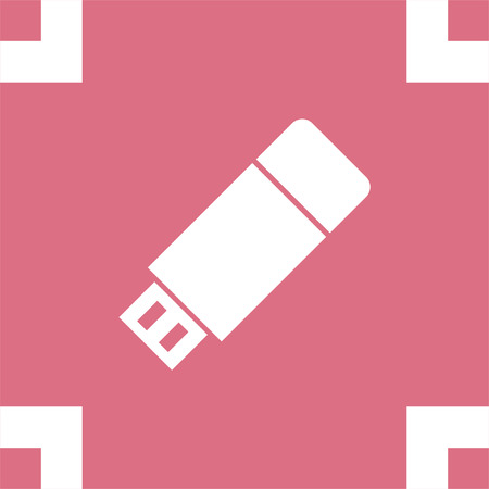 flash memory: USB stick vector icon. Flash memory sign. Removable data drive symbol