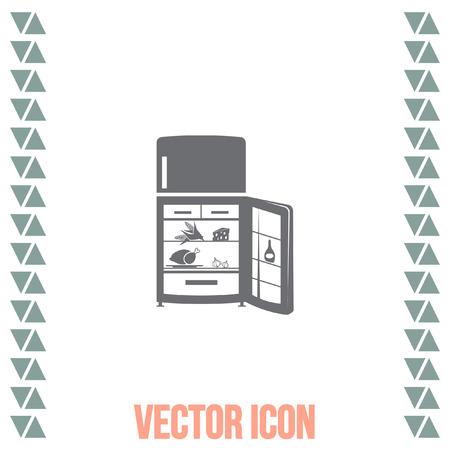 cold steel: Refrigerator vector icon. Fridge sign