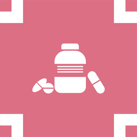 medicament: Bottle with pills vector icon. Pharmacy sign. Health care medicament symbol.