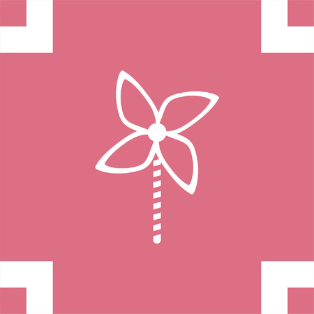 sign  childhood: Kid windmill toy vector icon. Child toy sign. Pinwheel symbol