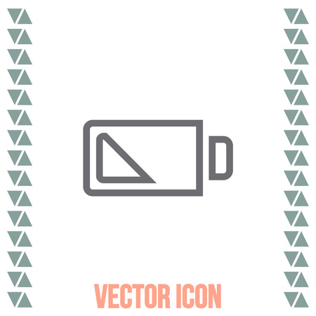 signs and symbols: Battery quarter sign line vector icon. Electrical power sign. Rechargeable energy symbol. Illustration