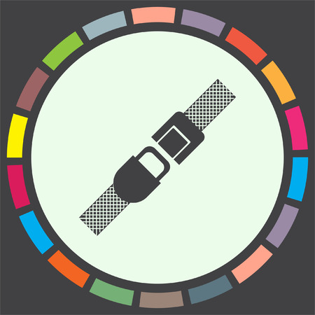 seat belt: Seat belt vector icon. Safety car device sign. Fasten airplane belt symbol Illustration