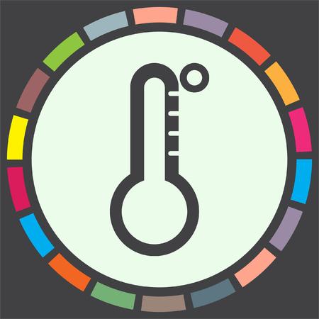 Thermometer vector icon. Temperature measurement sign. Celsius and fahrenheit symbol Illustration