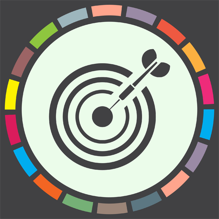 Target with arrow vector icon. Marksman sign. Archery competition icon. Business goal symbol.