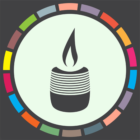 candlelight memorial: Candle vector icon. Birthday or christmas sign. Spirituality symbol.