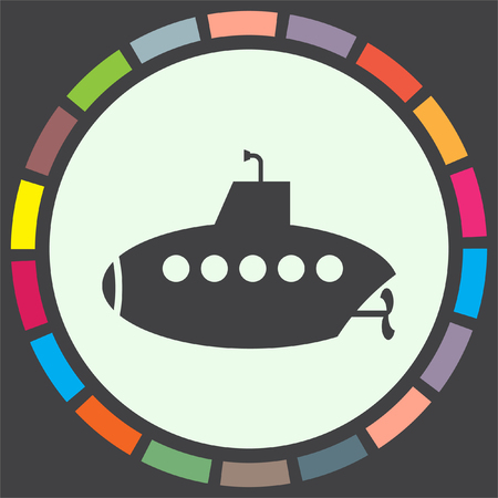 sonar: Submarine vector icon. Periscope sign. Water exploration symbol