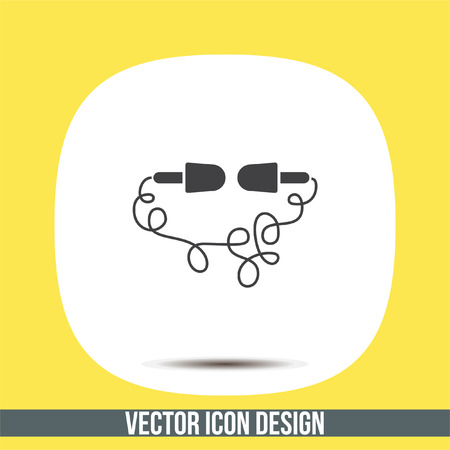 earbuds: Headphones line vector icon. Music sign. Volume control pictograph. Sound symbol. Illustration