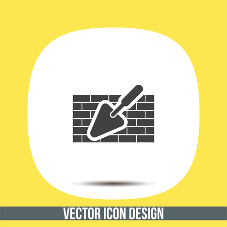 plasterer: Trowel with brick wall vector icon. Construction mason equipment. Plastering spatula symbol