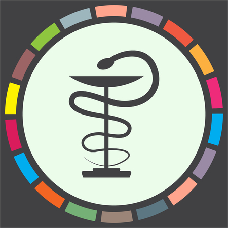 caduceus snake with stick: Pharmacy snake vector icon. Drugstore sign. Hospital symbol Illustration