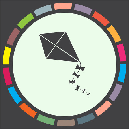paper kites: Kid kite vector icon. Child flying toy sign. Children play symbol Illustration
