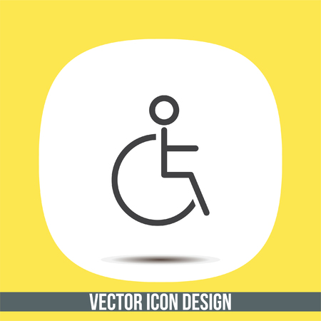 Wheelchair sign line vector icon. Disabled person icon. Human on wheelchair sign. Patient transportation symbol. Illustration