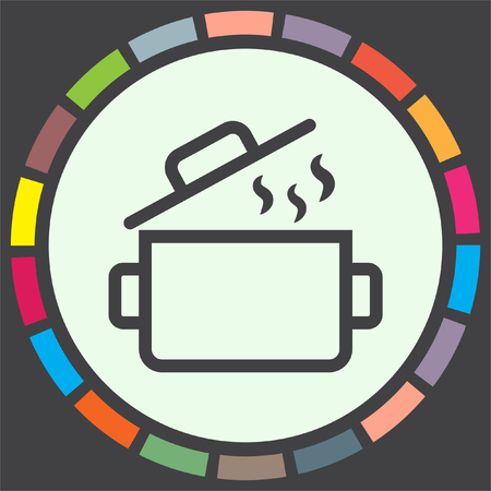 casserole: Cooking pot sign line vector icon. Kitchen equipment sign. Restaurant symbol