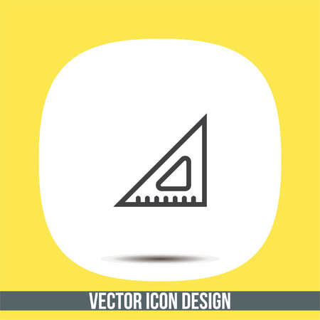 Ruler line vector icon. Measure sign. Triangular ruler and straightedge symbol. Geometric pictograph.