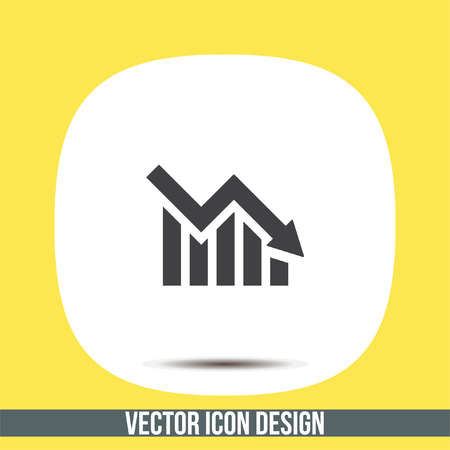 declining: Chart with bars declining vector icon. Decrease sign icon. Finance graph symbol. Illustration