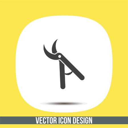 tree trimming: Garden pruner vector icon. Backyard scissors sign. Grooming equipment symbol Illustration
