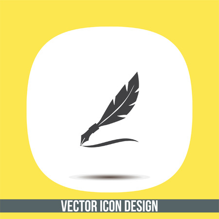 writing letter: Feather writing vector icon. Quill sign. Letter symbol