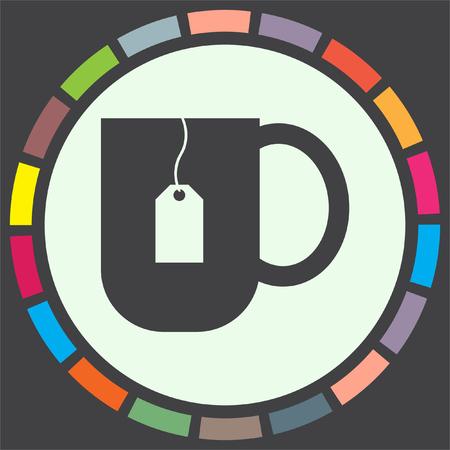 leaf illustration: Tea cup vector icon. Hot drink sign. Teabag in a hot water mug symbol