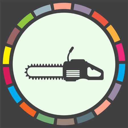 chainsaw: Chainsaw vector icon. Timber industry symbol.