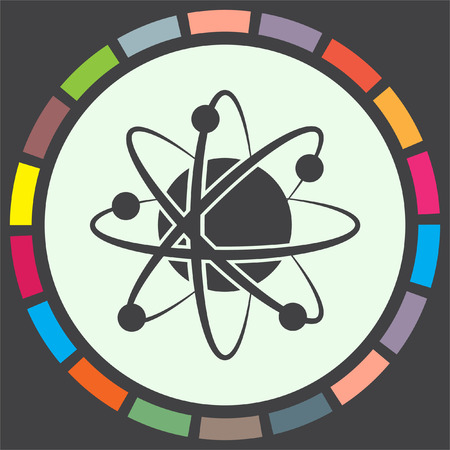 vector nuclear: Atom model vector icon. Science symbol. Nuclear technology sign. Molecular biology sign. Illustration