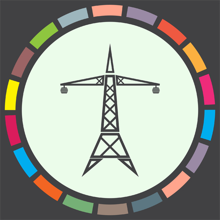 power icon: Power line vector icon. Electric tower sign. High electricity transmission symbol