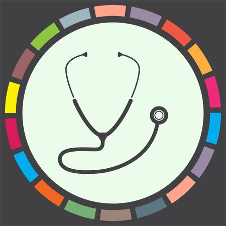 doctor symbol: Stethoscope vector icon. Medical equipment sign. Hospital care symbol Illustration